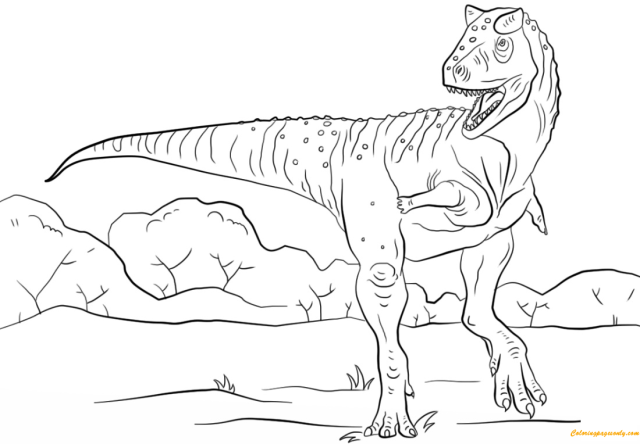 Jurassic Park Carnotaurus Coloring Pages - Dinosaurs Coloring