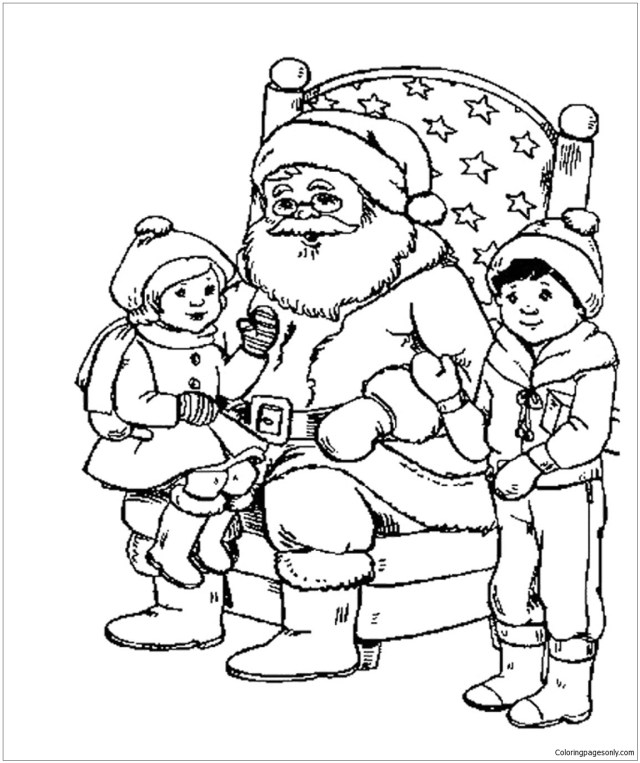 Kids And Santa Christmas Coloring Pages - Christmas Coloring Pages