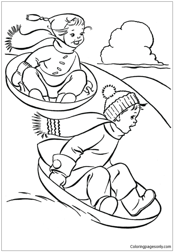 Kids Having Fun In Winter With Sled Dog Coloring Page