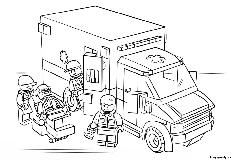 Lego City Ambulance Coloring Page