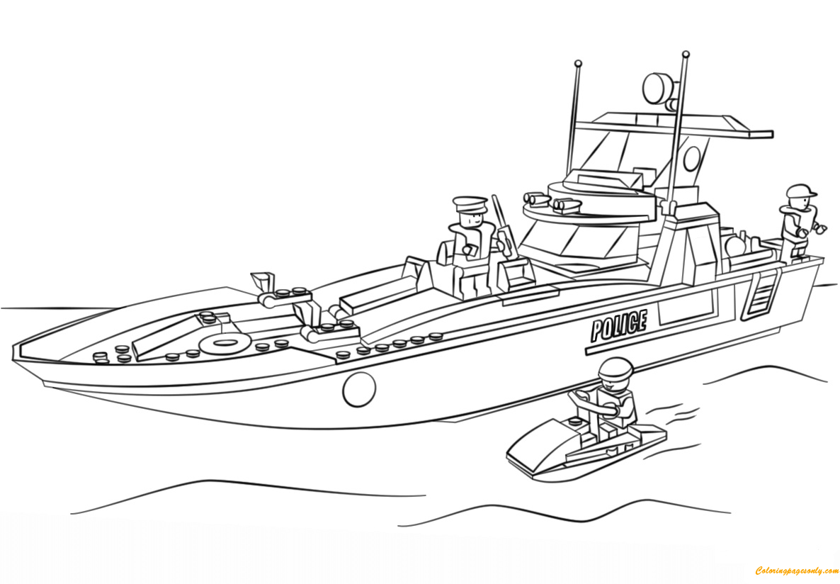 Lego Police Patrol Boat Coloring Page Free Coloring Pages Online