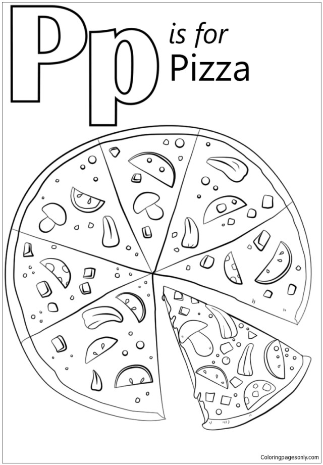 Letter P is for Pizza Coloring Pages - Alphabet Coloring Pages