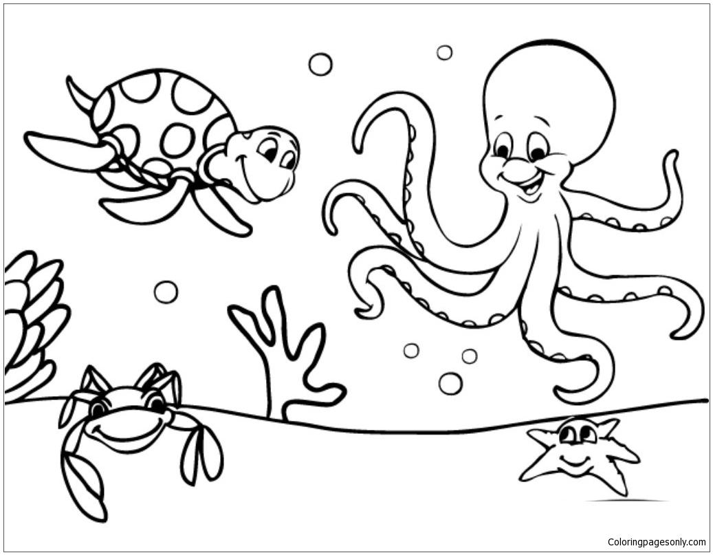Marine Life Under The Ocean Floor Coloring Page