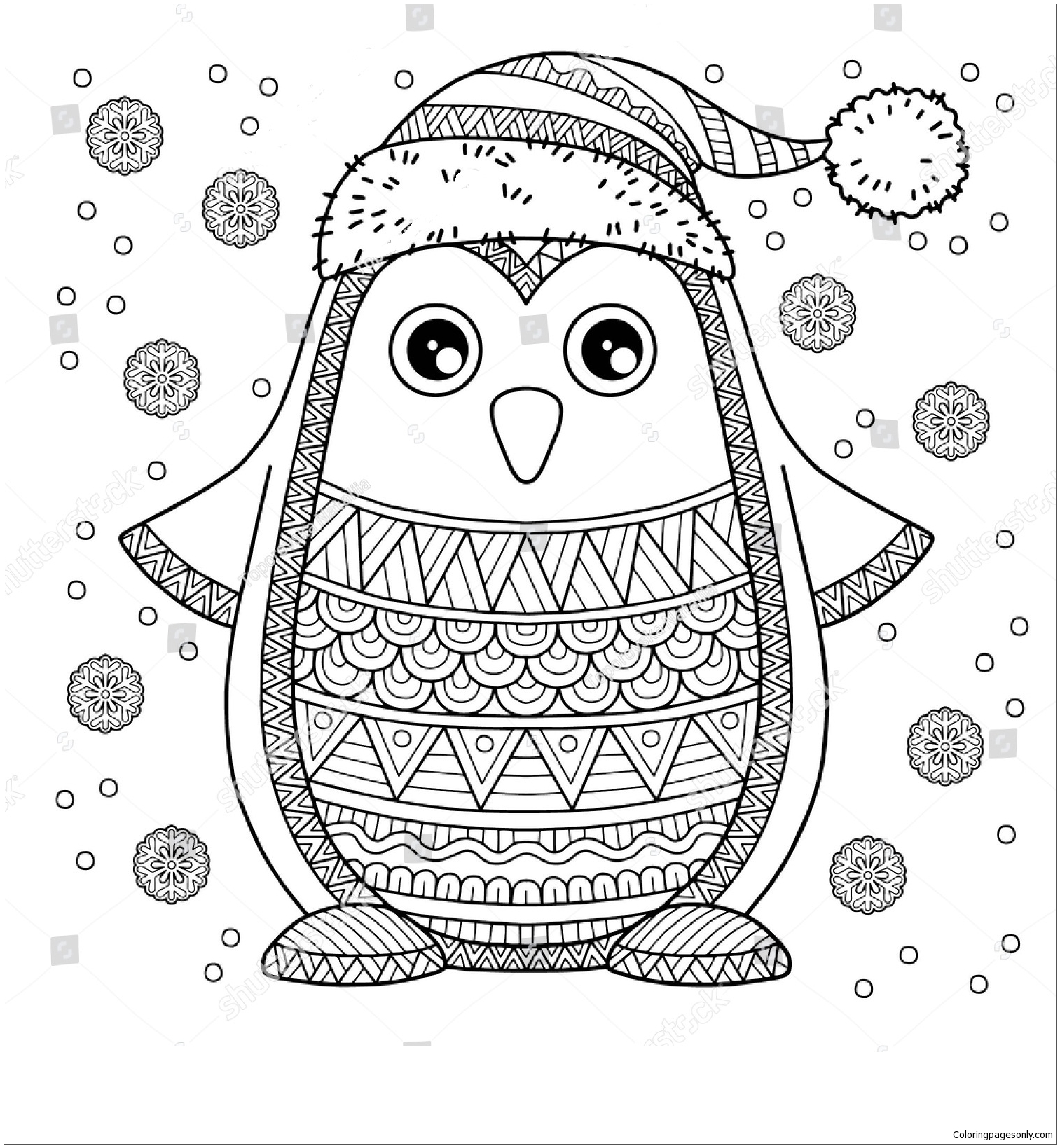 Merry Christmas Jolly Penguin Coloring Page Free Coloring Pages