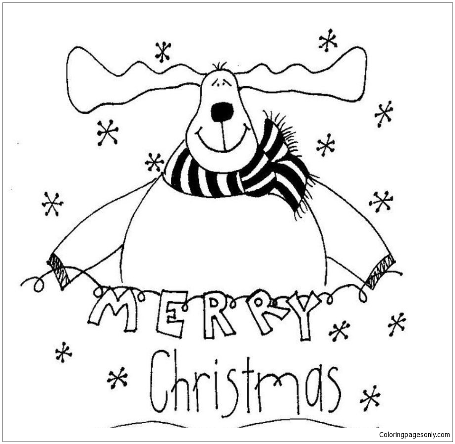 Merry Christmas Reindeer Coloring Page Free Coloring Pages Online