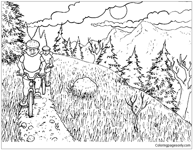 Nature Mountain Bike Coloring Page Free Coloring Pages