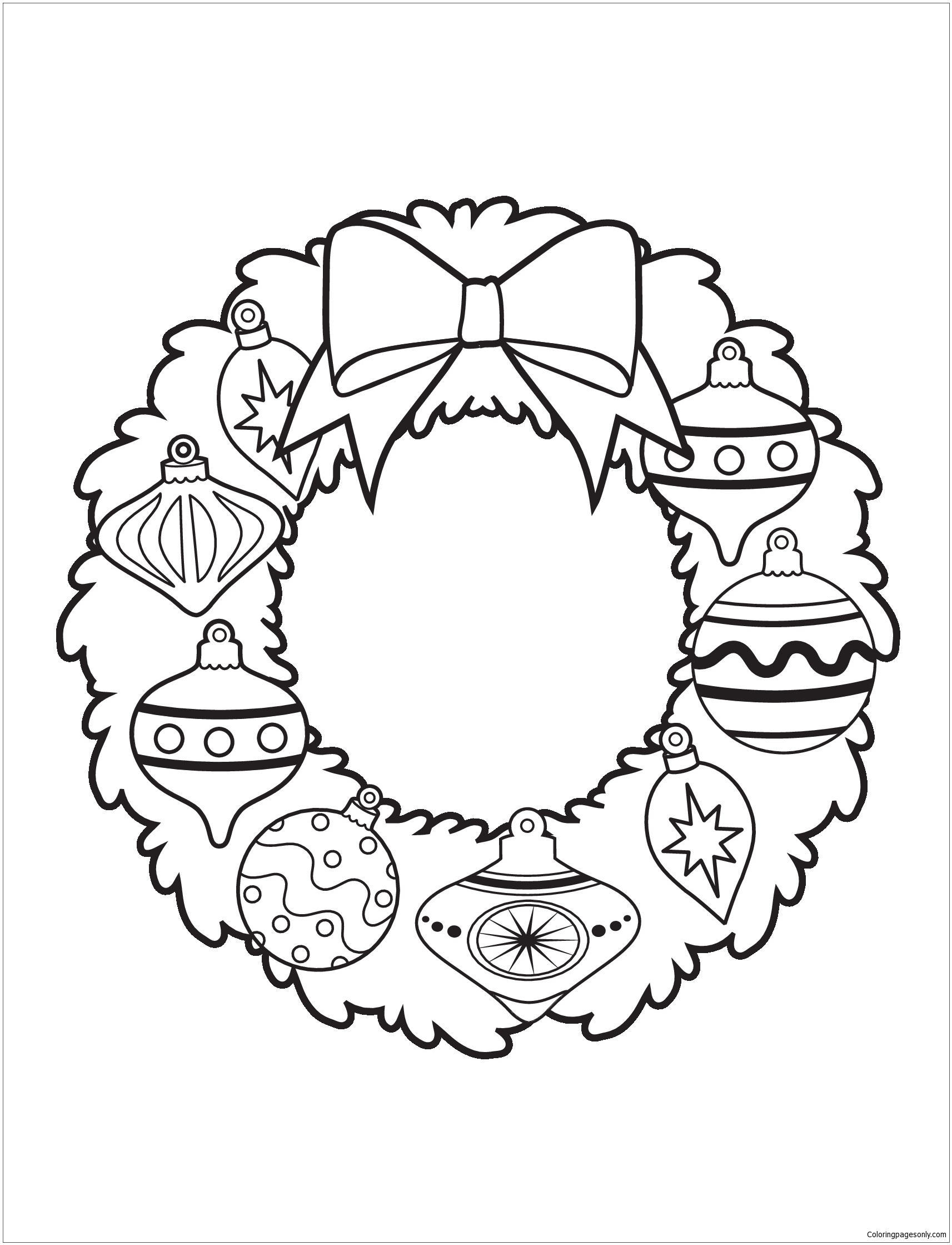 Ornament Wreath Christmas Coloring Page Free Coloring