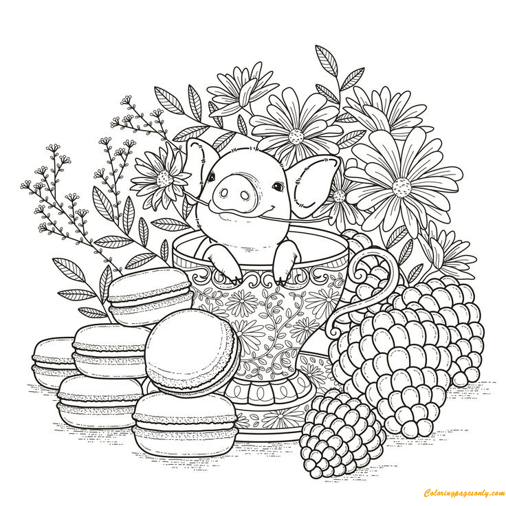 pig in a tea cup and a flower coloring page  free