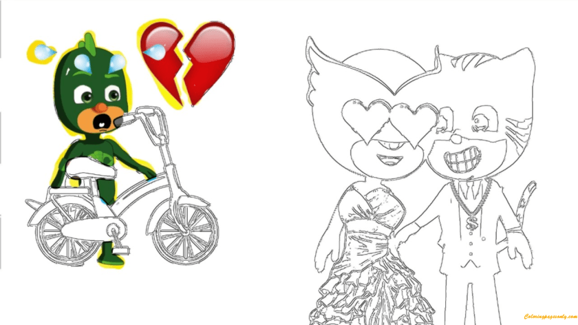pj masks catboy love owlette coloring page  free coloring