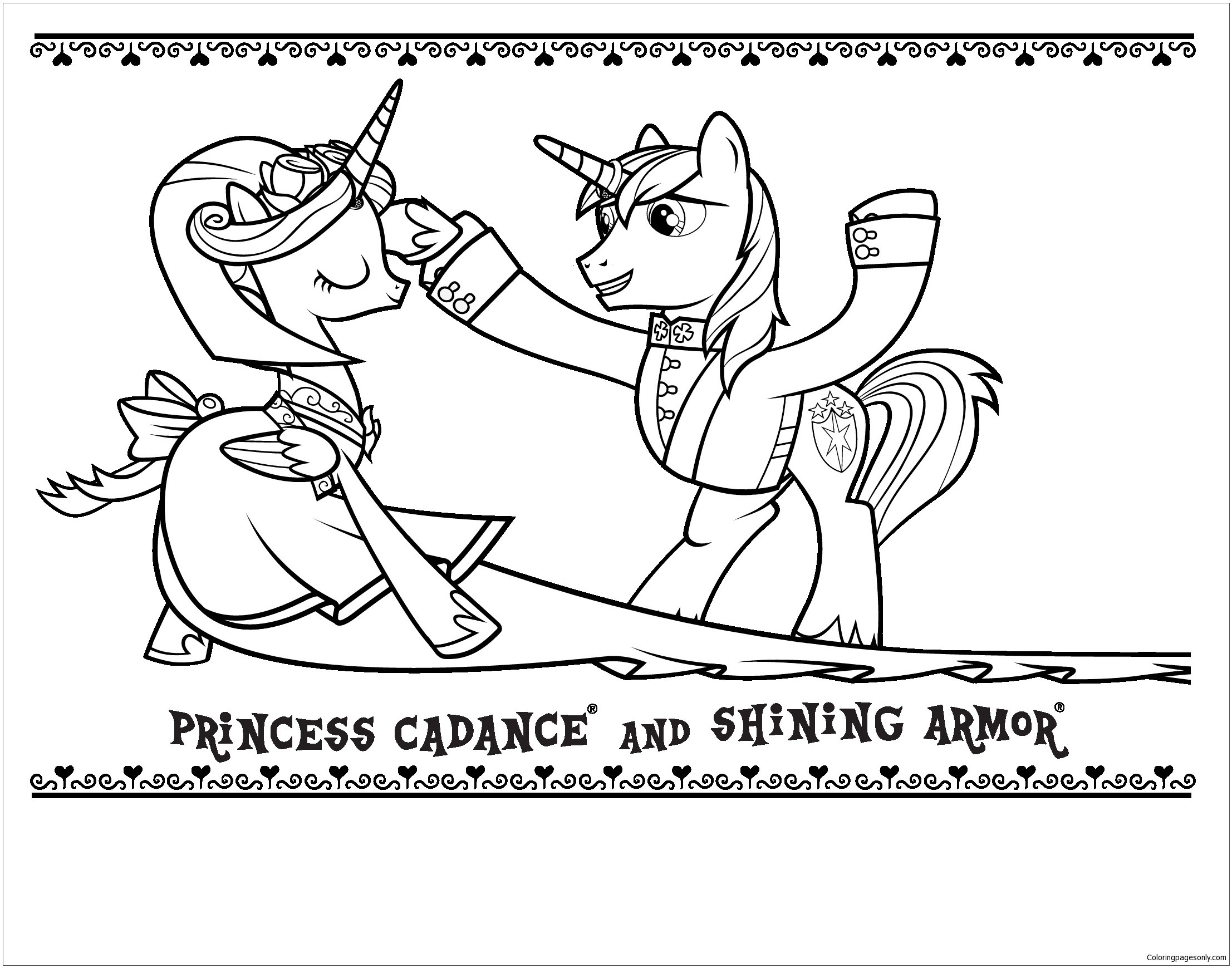 Princess Cadance And Shining Armor Coloring Page Free Coloring