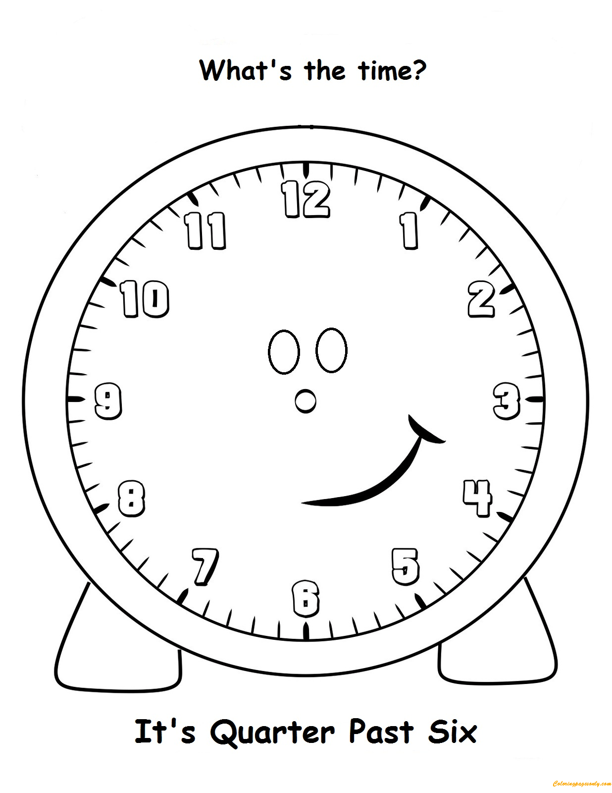 Quarter Past Six Coloring Page