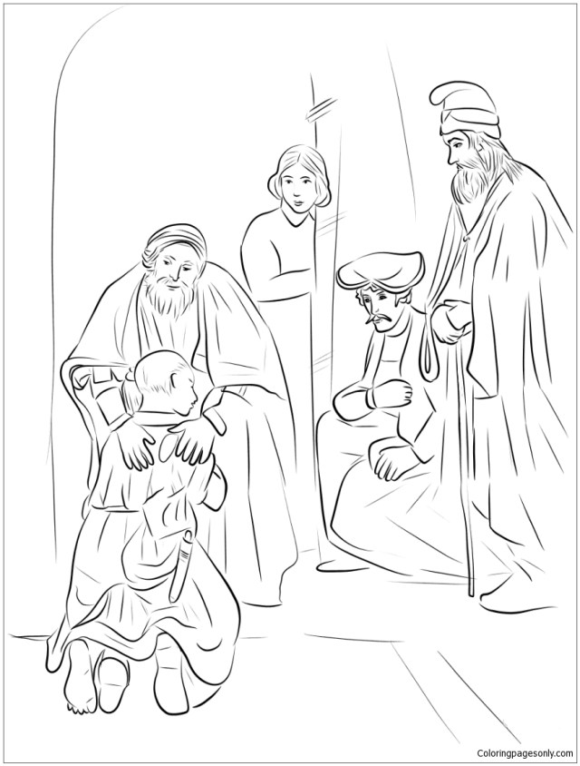 Return of the Prodigal Son by Rembrandt Coloring Pages - Arts