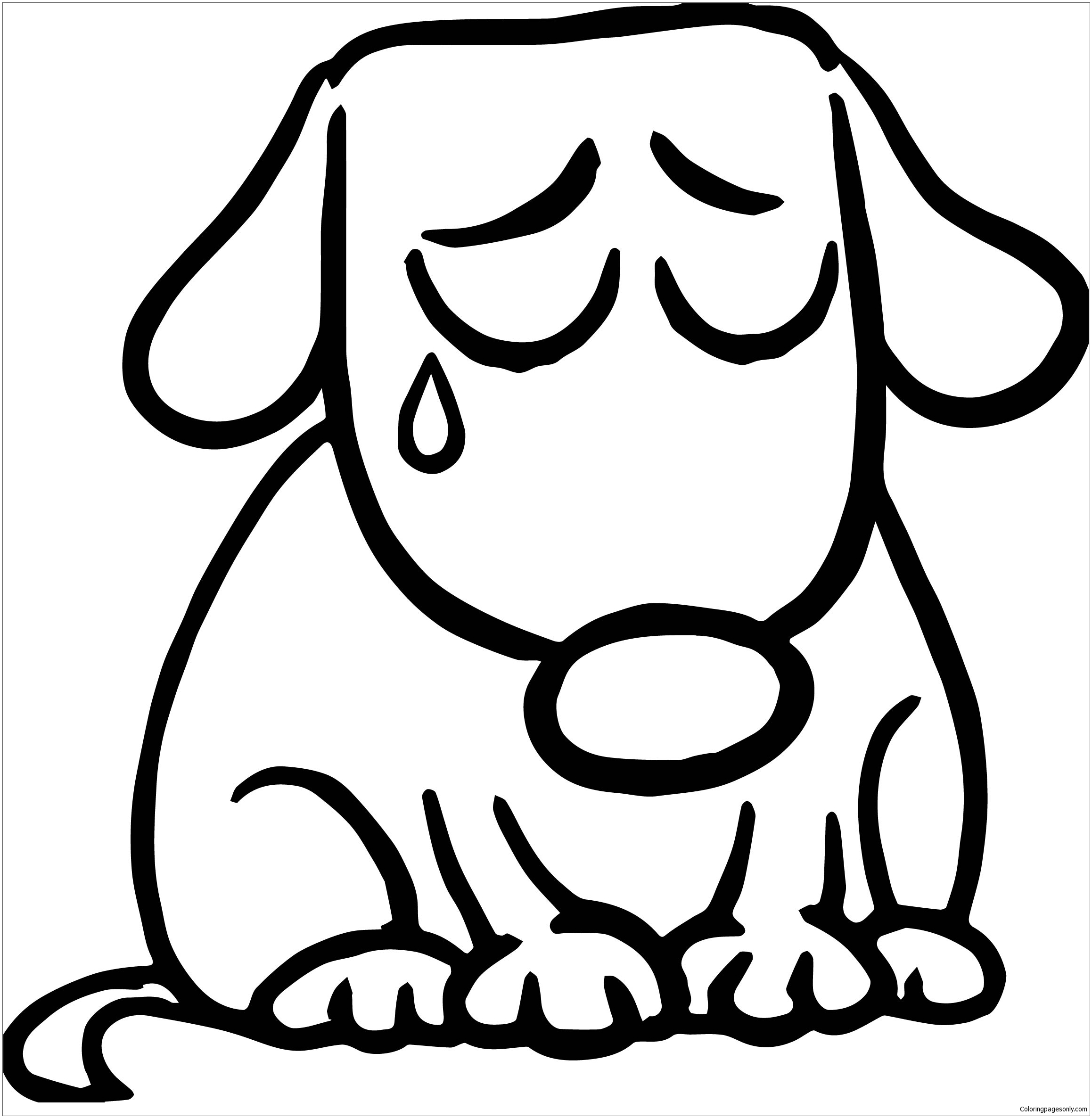 Sad Puppy Coloring Page