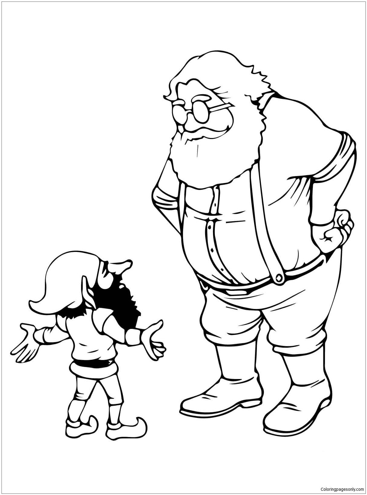 Santa And Christmas Elf Talking Coloring Page