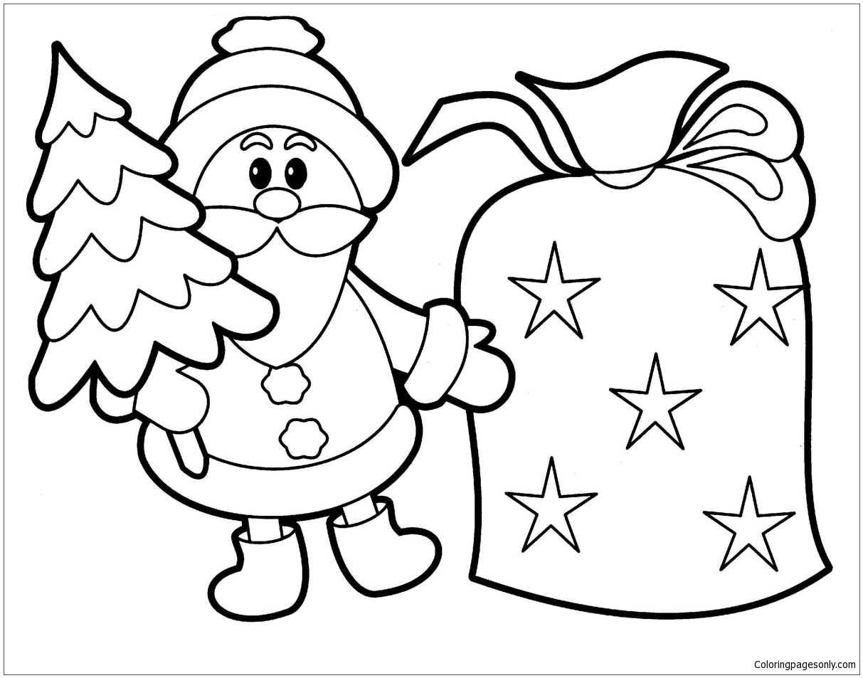 Santa Claus And Bell Christmas Coloring Page Free Coloring Pages