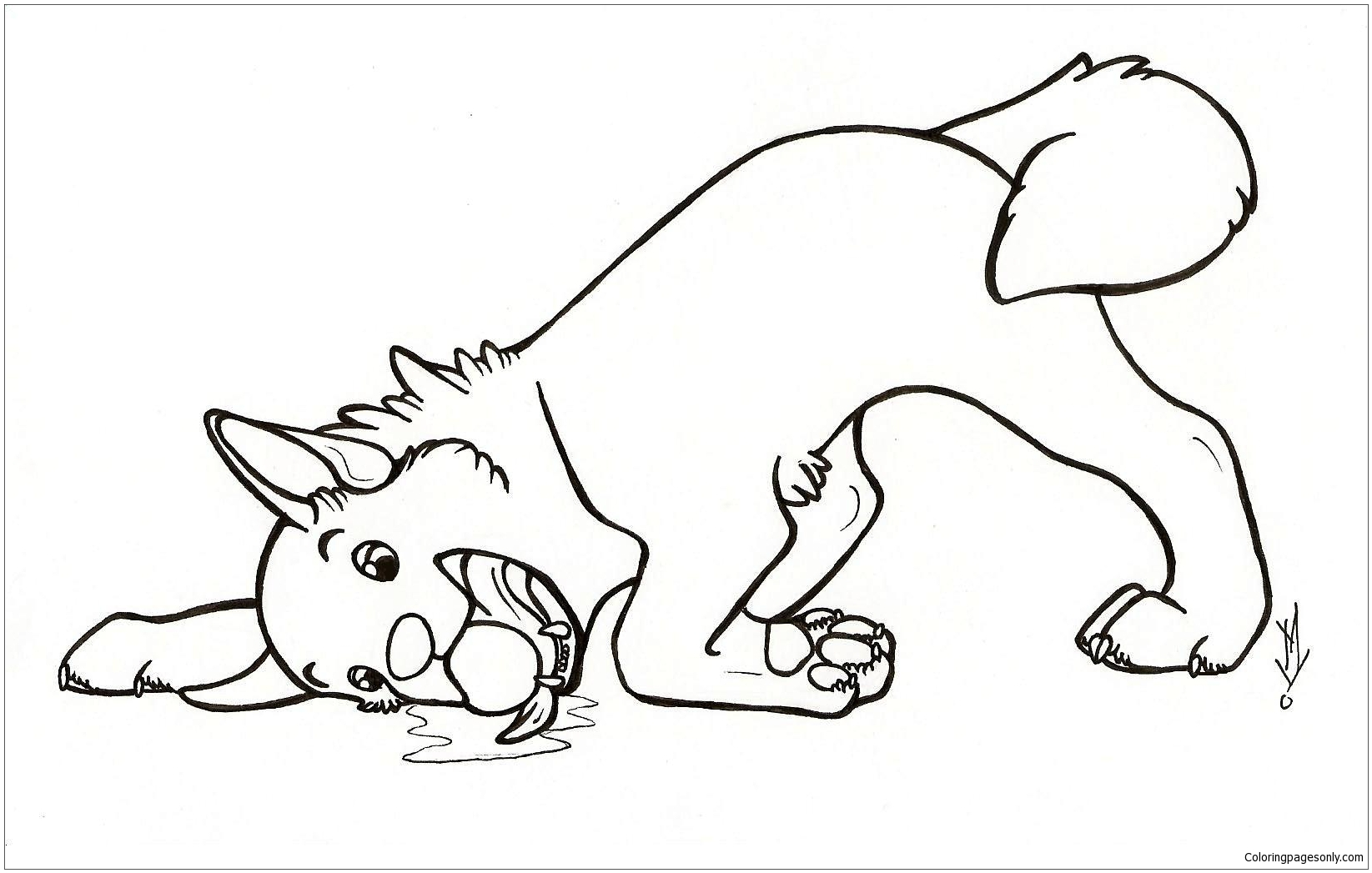 Simple Dog Coloring Page