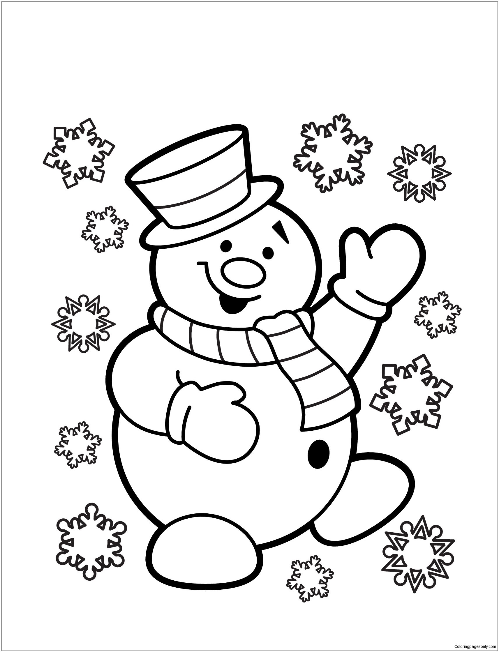 Christmas Snowman Page Computer Coloring Pages