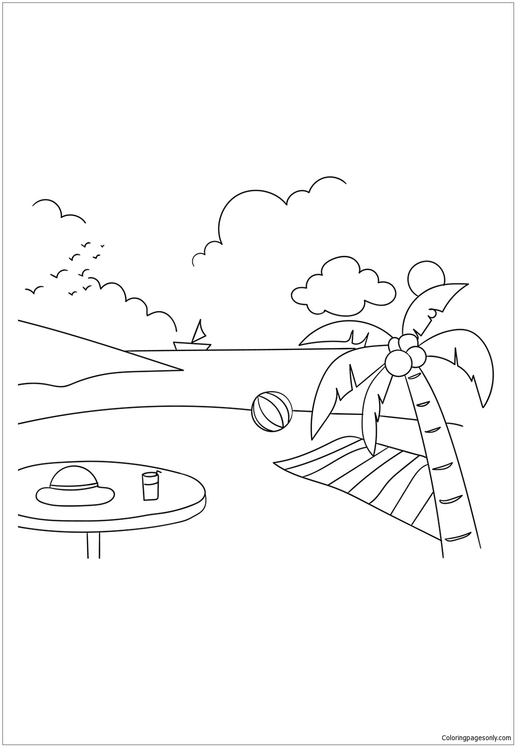 Summer Beach Party Coloring Page