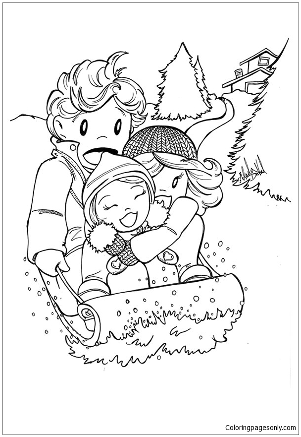 The Winter Sledding Coloring Page Free Coloring Pages Online