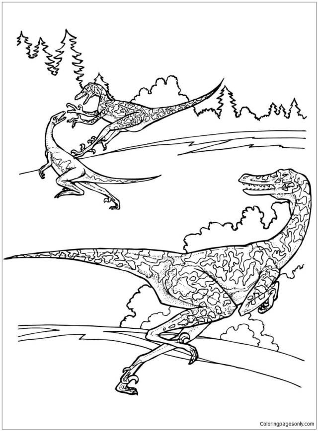 Velociraptor From Dinosaurs Coloring Pages - Dinosaurs Coloring