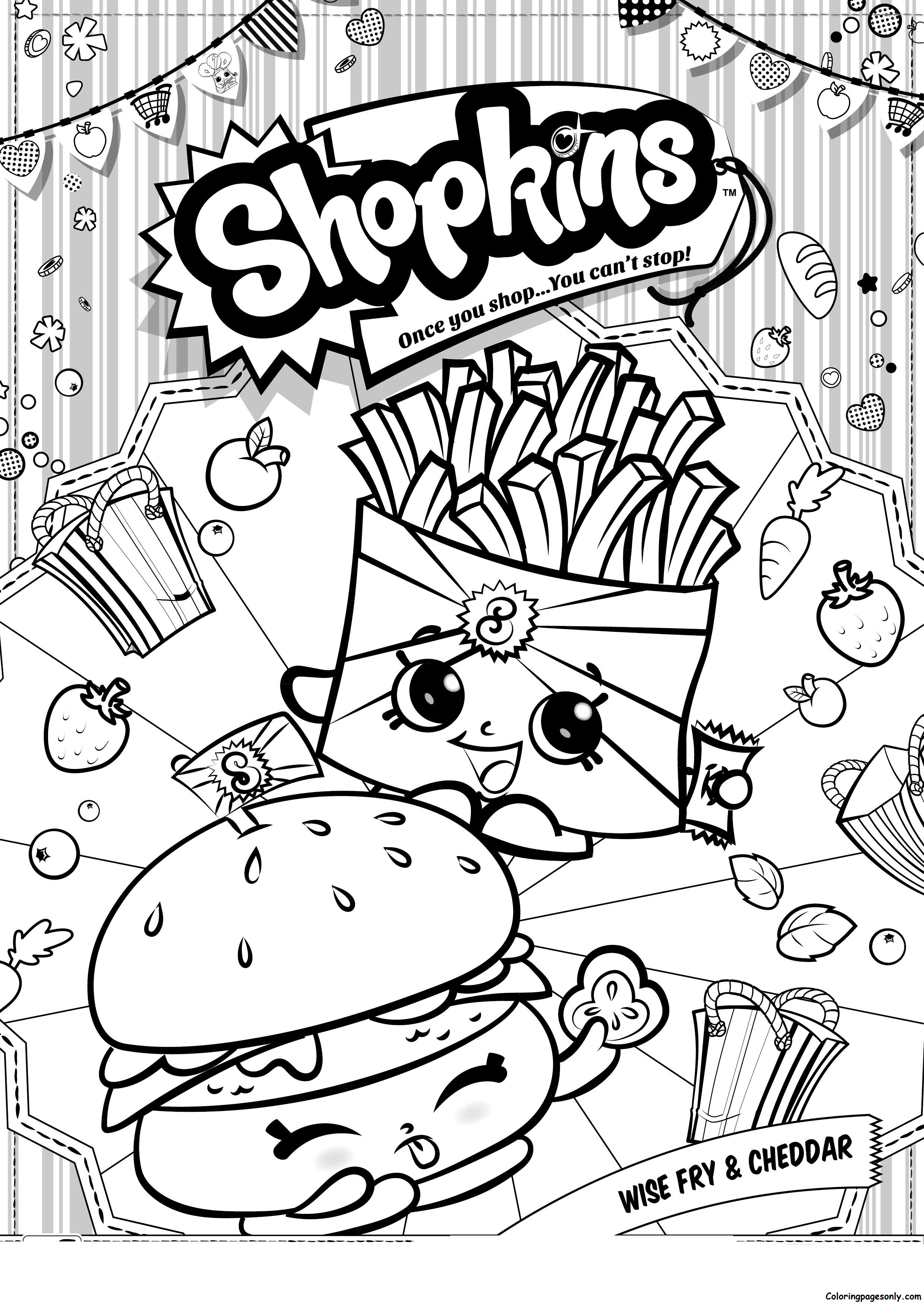 Wise Fry And Cheddar Shopkins Coloring Page Free Coloring Pages