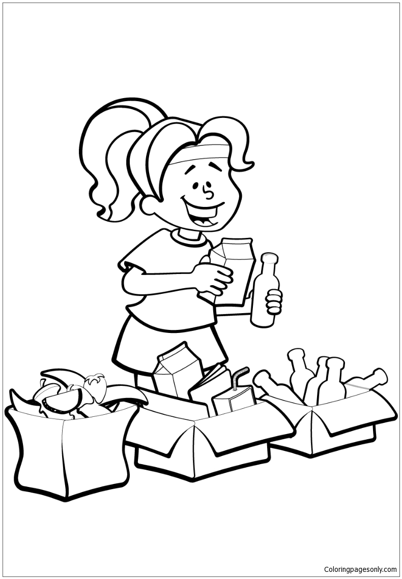 Woman Is Sorting Garbage For Recycling Coloring Page Free