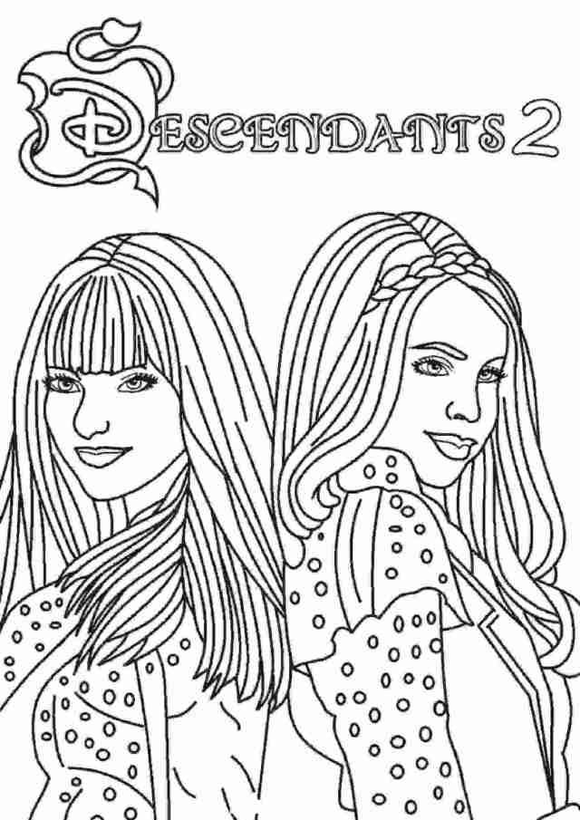 Mal and Evie from Descendants 24 Coloring Pages - Descendants