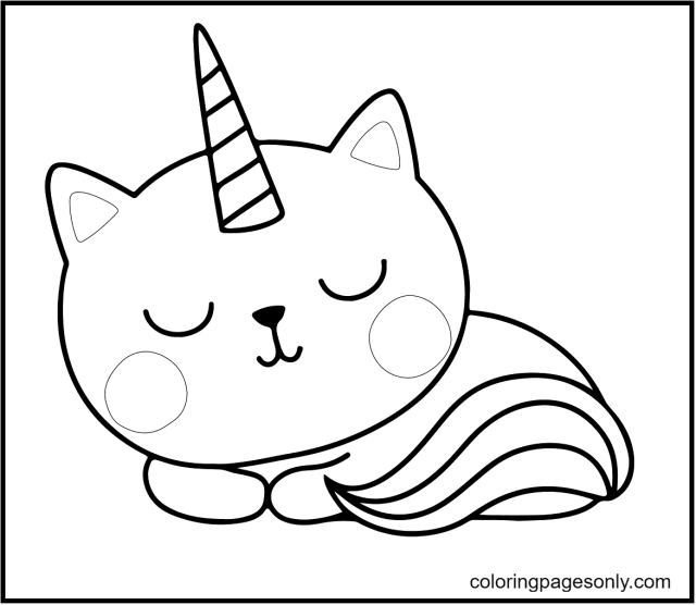Cute Kitty Unicorn Coloring Pages - Unicorn Cat Coloring Pages