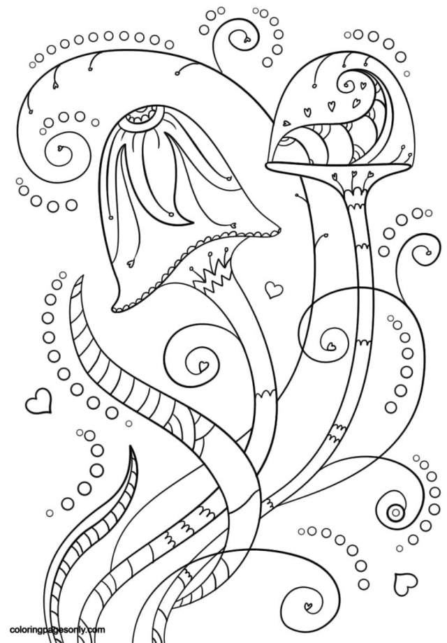 Psychedelic Mushrooms Coloring Pages - Trippy Coloring Pages