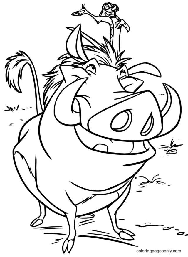 Timon on Pumbaa Coloring Pages - The Lion King Coloring Pages