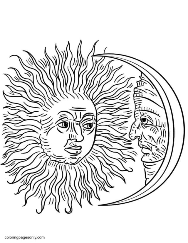 Vintage Sun and Moon Coloring Pages - Trippy Coloring Pages