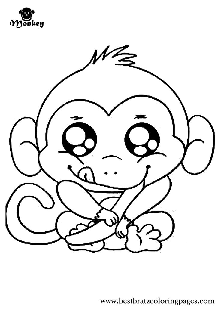 Cute monkey coloring pages to download and print for free | free printable coloring pages cute animals