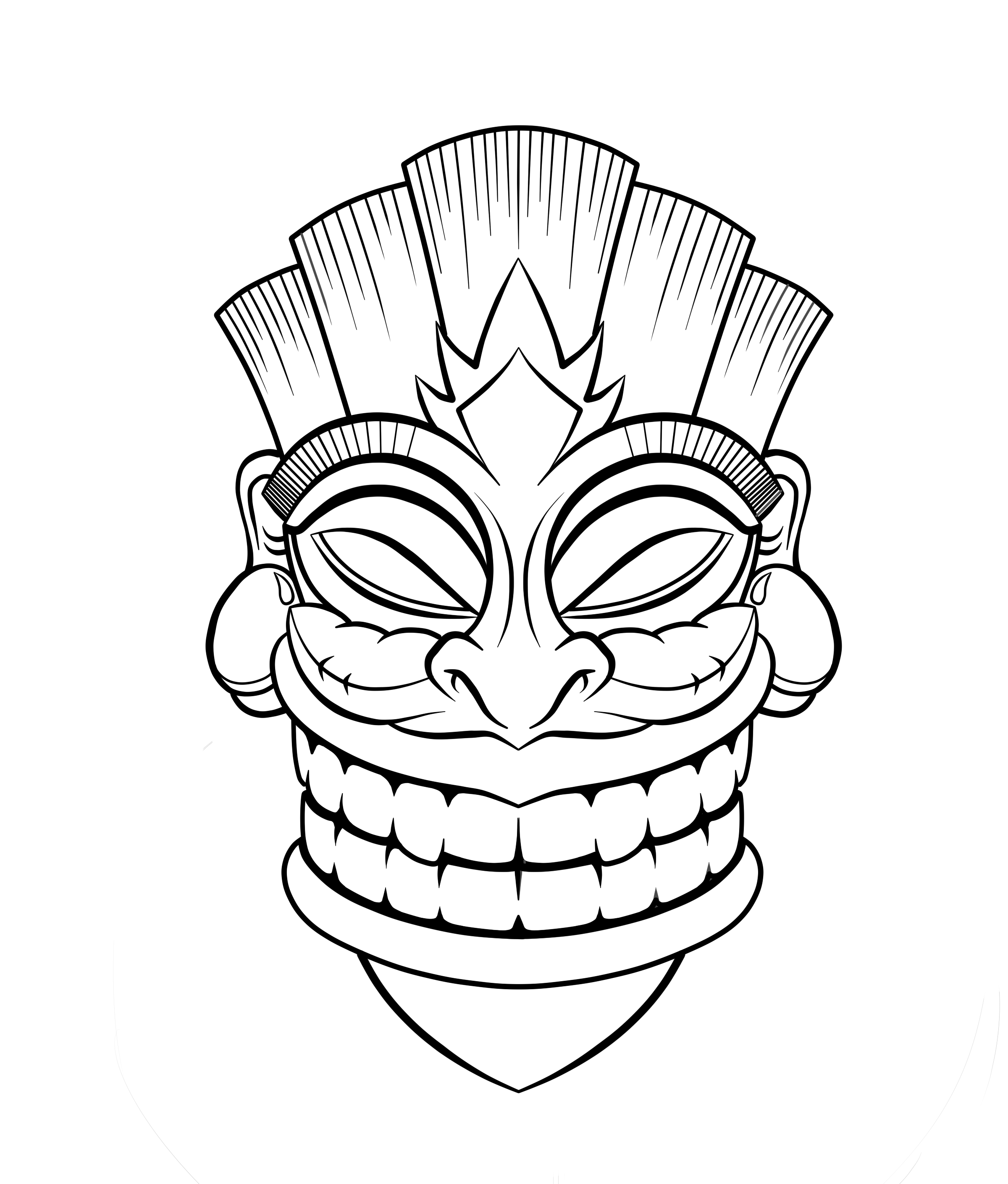 Hawaiian Tiki Mask Coloring Pages Download And Print For Free