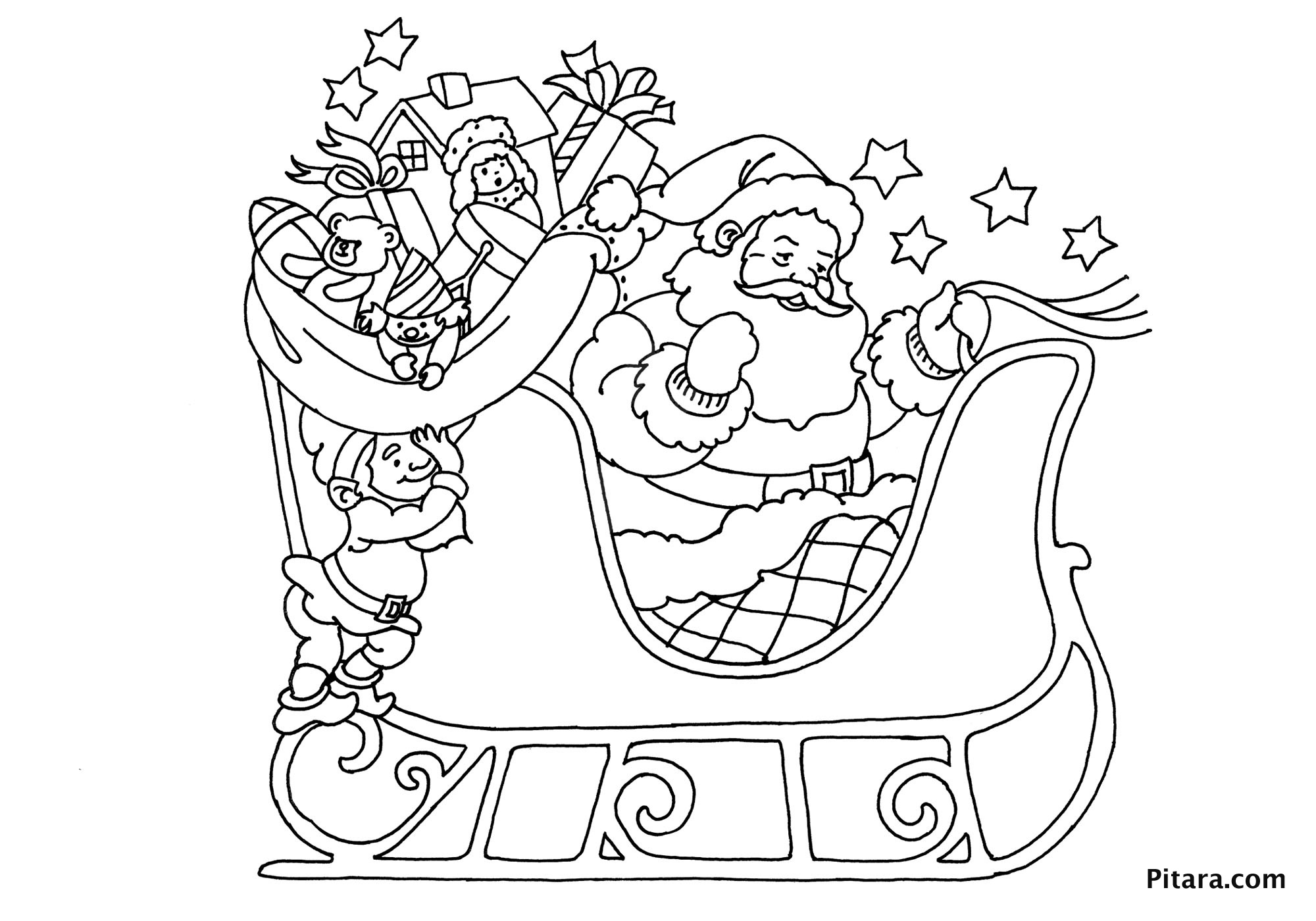 Santa In Sleigh Coloring Pages Download And Print For Free