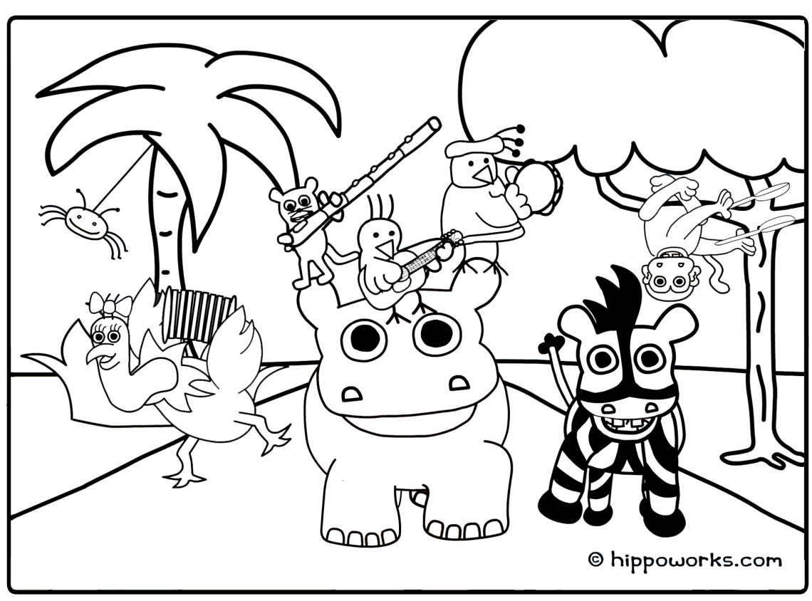 Jungle coloring pages to download and print for free | jungle animals coloring pages for kindergarten