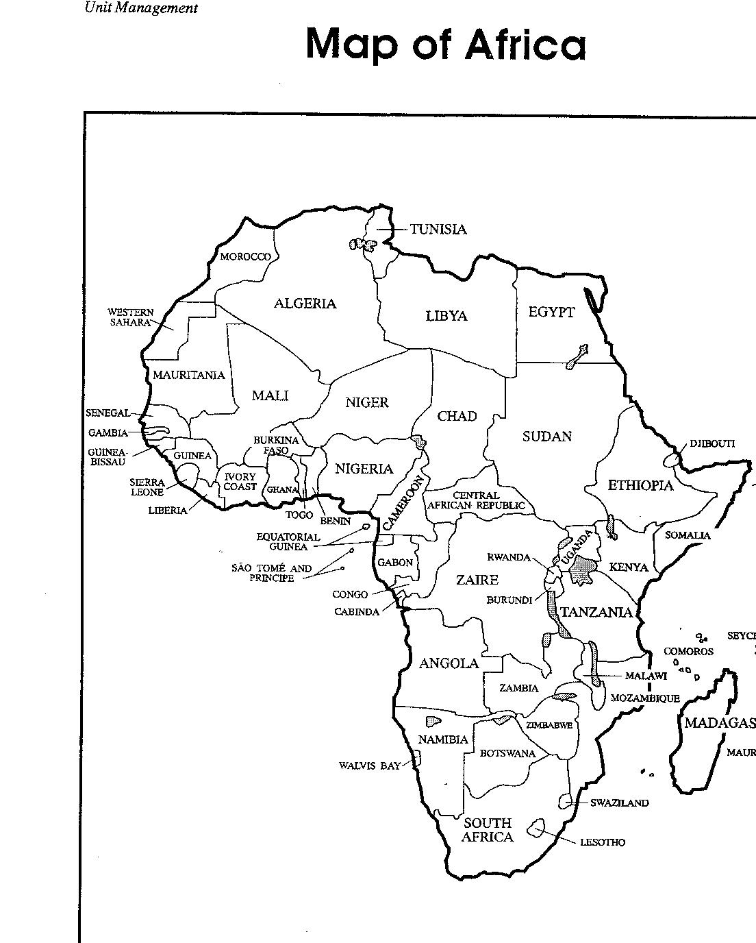 Printable Blank Africa Map With Countries Sketch Coloring Page