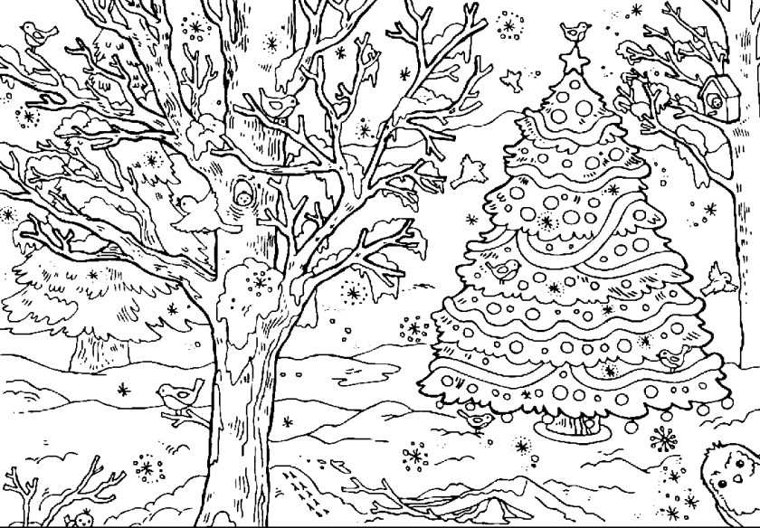 winter forest coloring pages to download and print for free