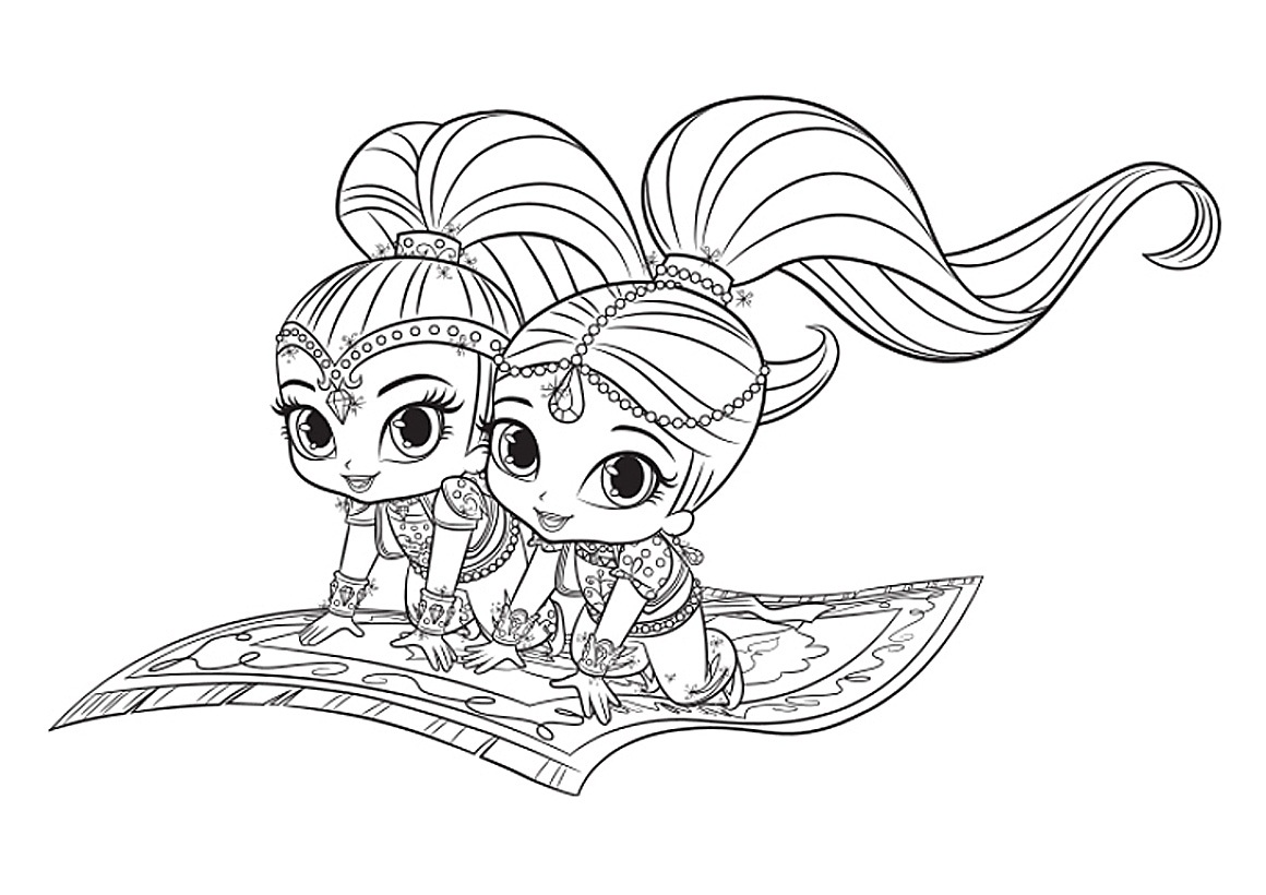 Shimmer And Shine Coloring Pages To Print Coloring Pages