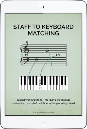 Staff to Keyboard Matching - digital worksheet