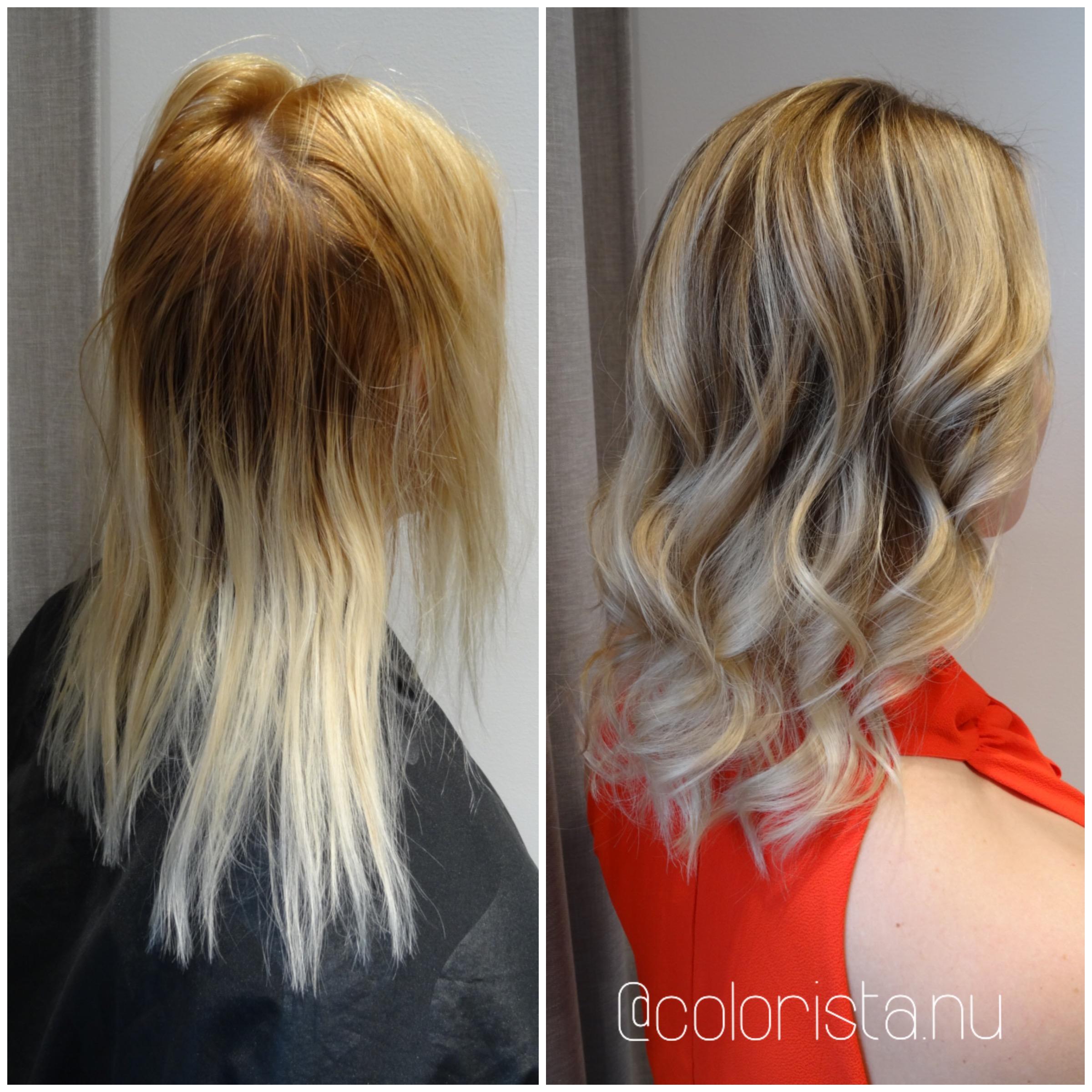 askblond toning på oranget hår