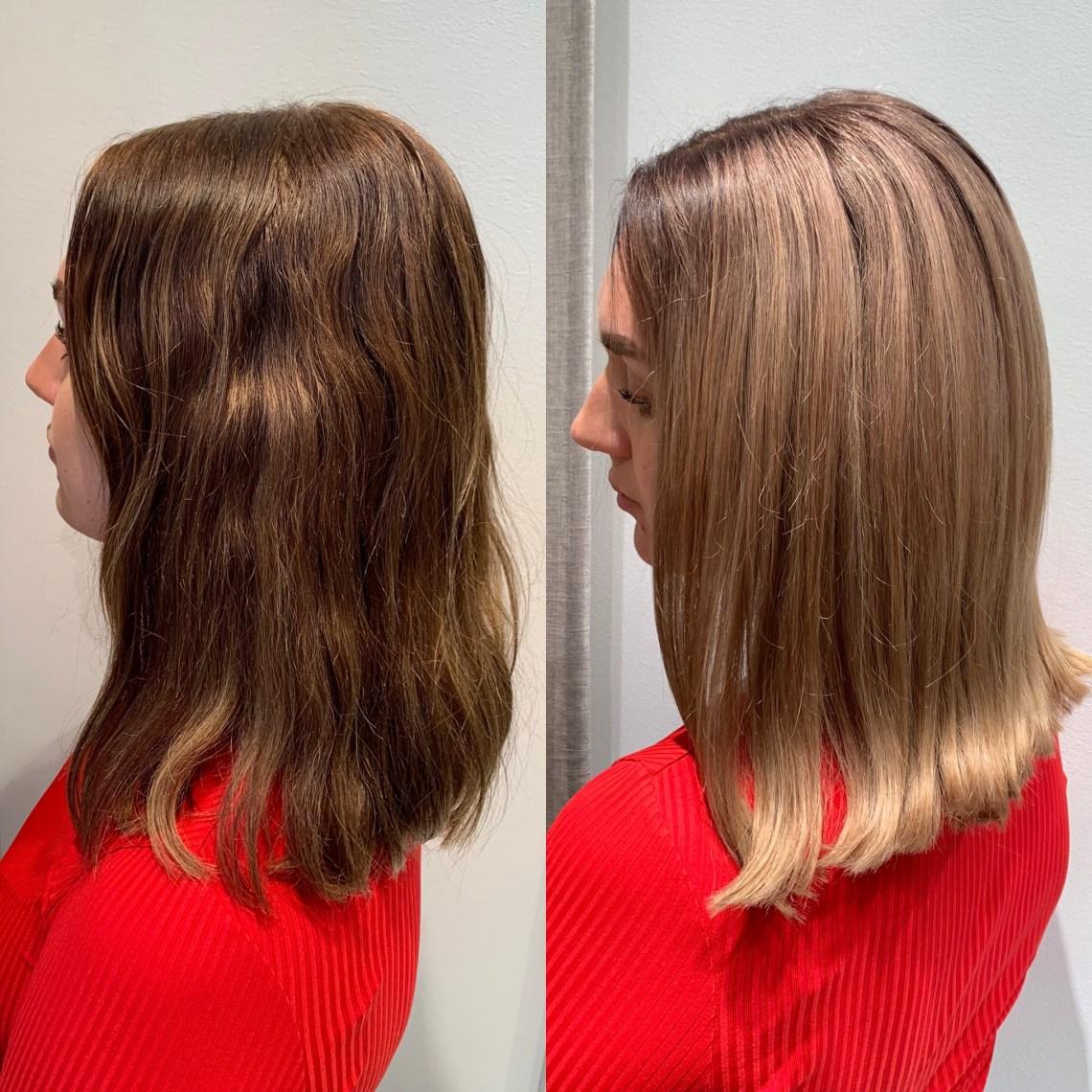 mörkblond hårfärg på brunt hår