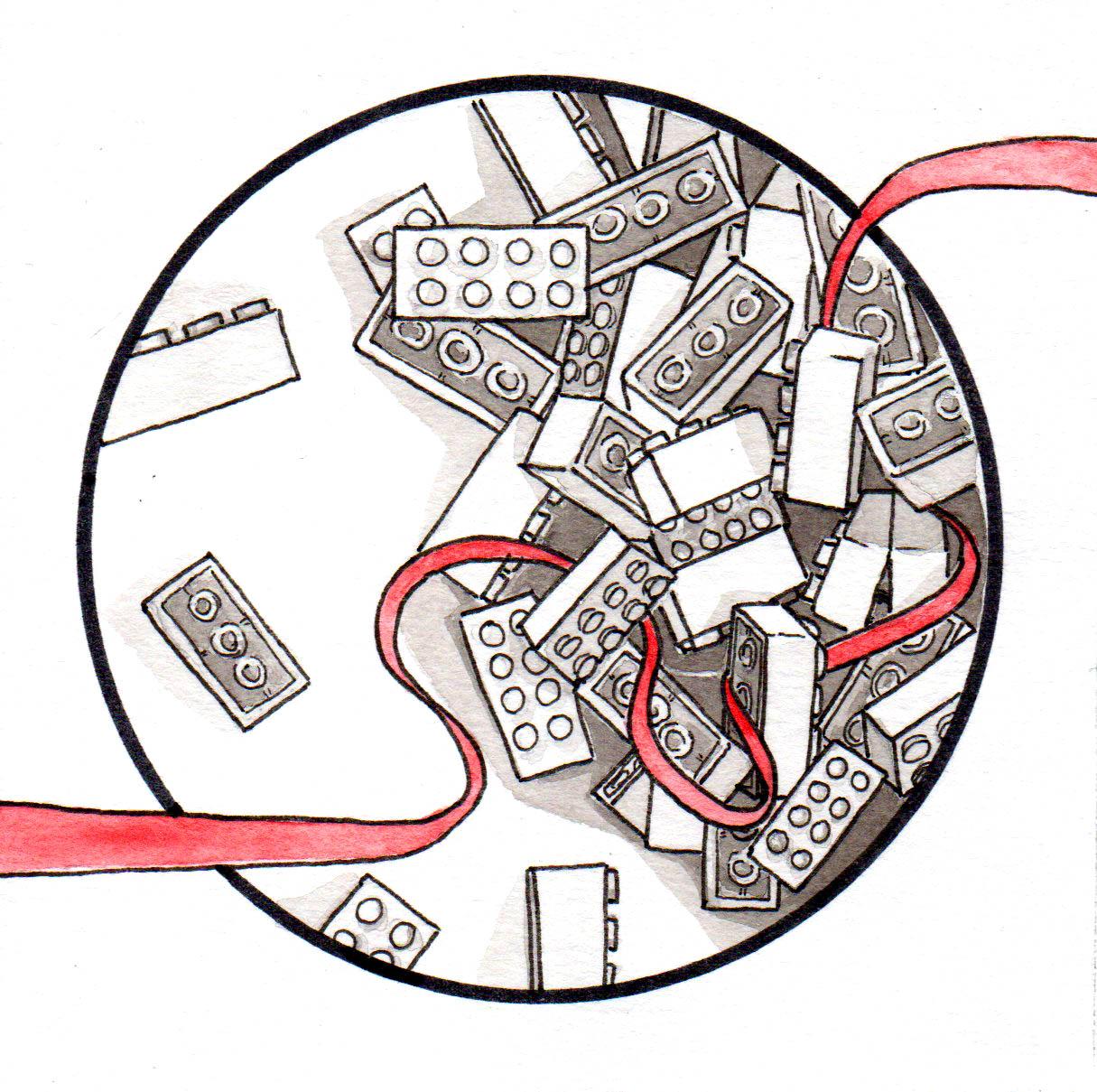 Illustration : representation de lego jeux de brique à l'encre de chine