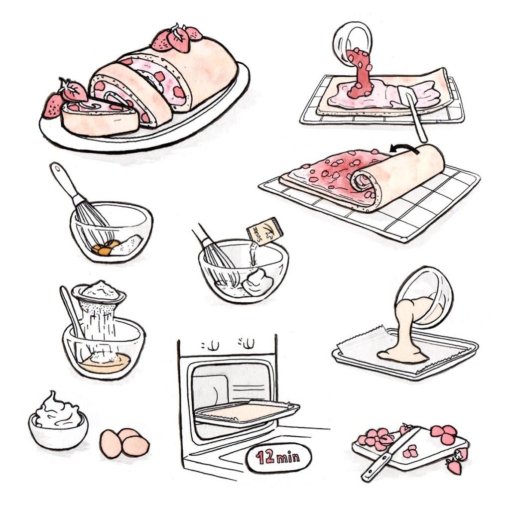 Illustration : différentes étapes d'une recette de roulé à la fraise