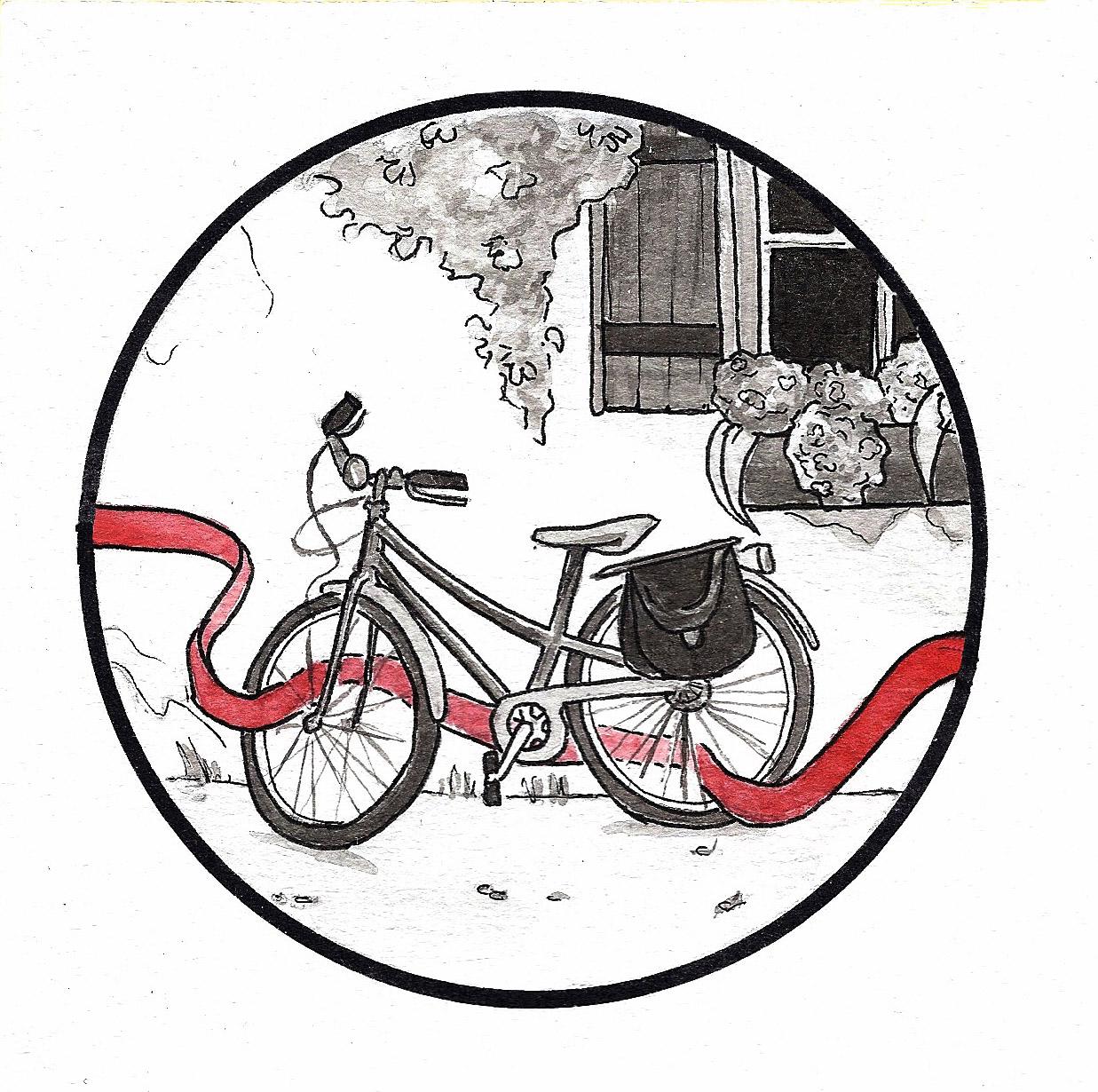 Illustration : représentation d'une bicyclette à l'encre de chine