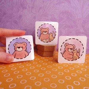 illustration : produit boutique lot de stickers petit nours différents