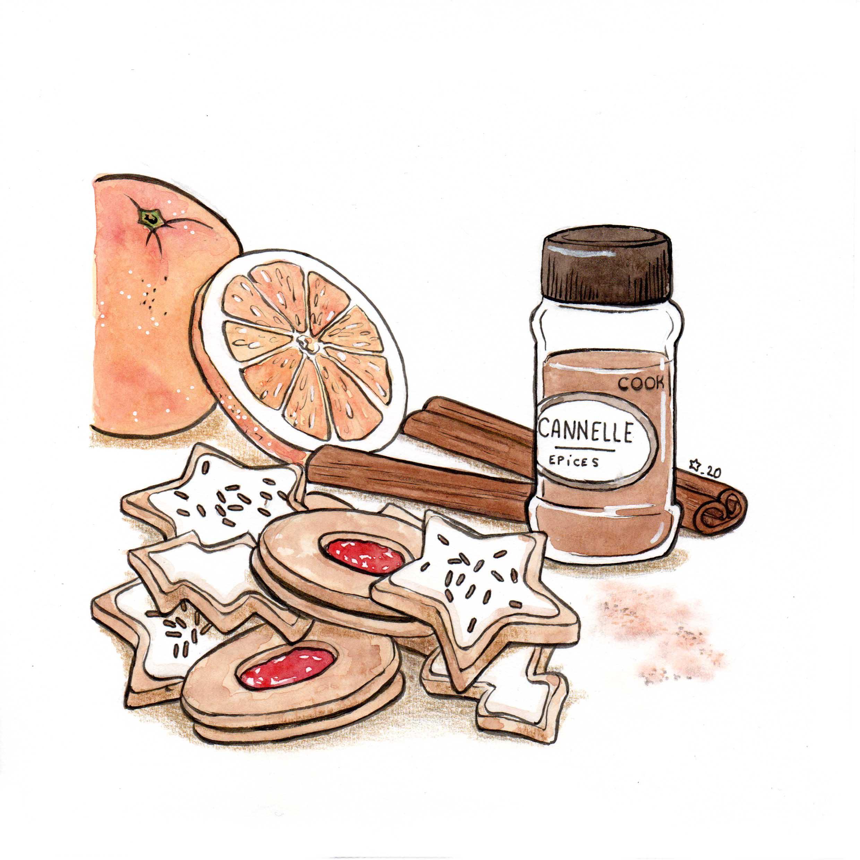 Illustration : aquarelle de biscuits aux senteurs de Noël