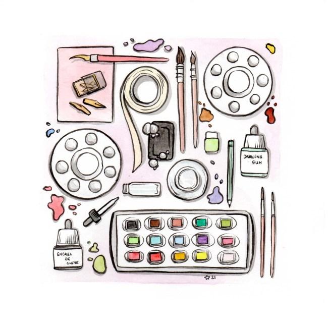 illustration : Aquarelle de mon matériel d'art et de dessin