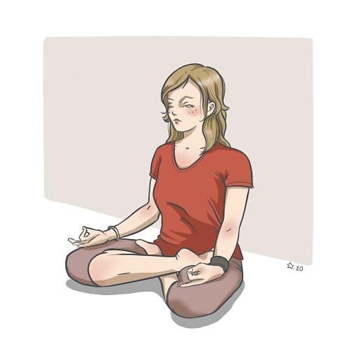 Illustration : Posture de yoga dessin numérique d'une femme