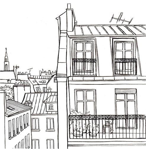 illustration : vie de Paris. dessin à l'encre de chine