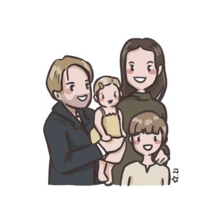 illustration : portrait famille chibi